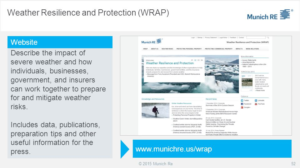 © 2015 Munich Re Weather Resilience and Protection (WRAP) 52 Describe the impact of severe weather and how individuals, businesses, government, and in