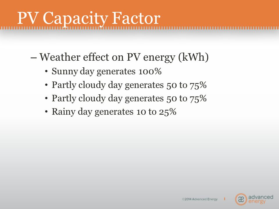 PV Capacity Factor – Weather effect on PV energy (kWh) Sunny day generates 100% Partly cloudy day generates 50 to 75% Rainy day generates 10 to 25%