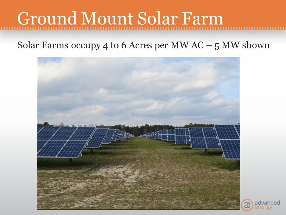 Ground Mount Solar Farm Solar Farms occupy 4 to 6 Acres per MW AC – 5 MW shown