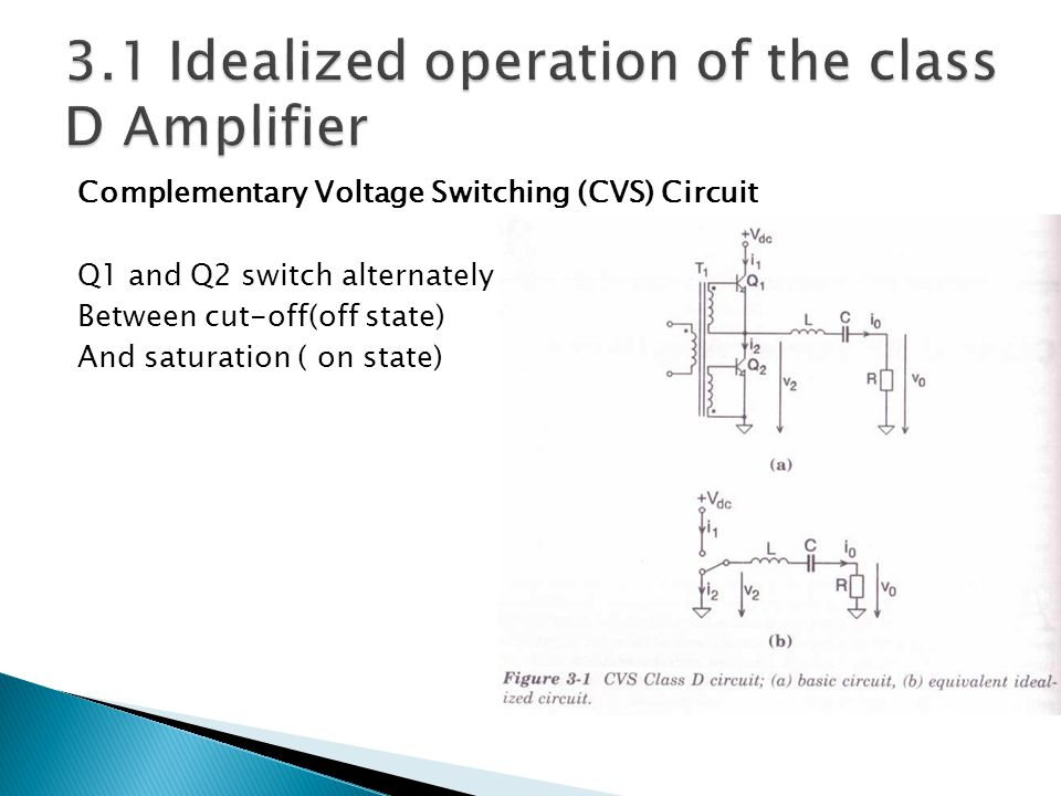 Complementary Voltage Switching (CVS) Circuit Q1 and Q2 switch alternately Between cut-off(off state) And saturation ( on state)