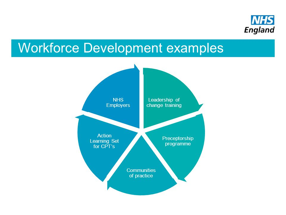 Workforce Development examples Leadership of change training Preceptorship programme Communities of practice Action Learning Set for CPT's NHS Employe
