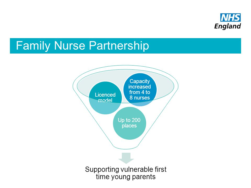 Family Nurse Partnership Supporting vulnerable first time young parents Up to 200 places Licenced model Capacity increased from 4 to 8 nurses
