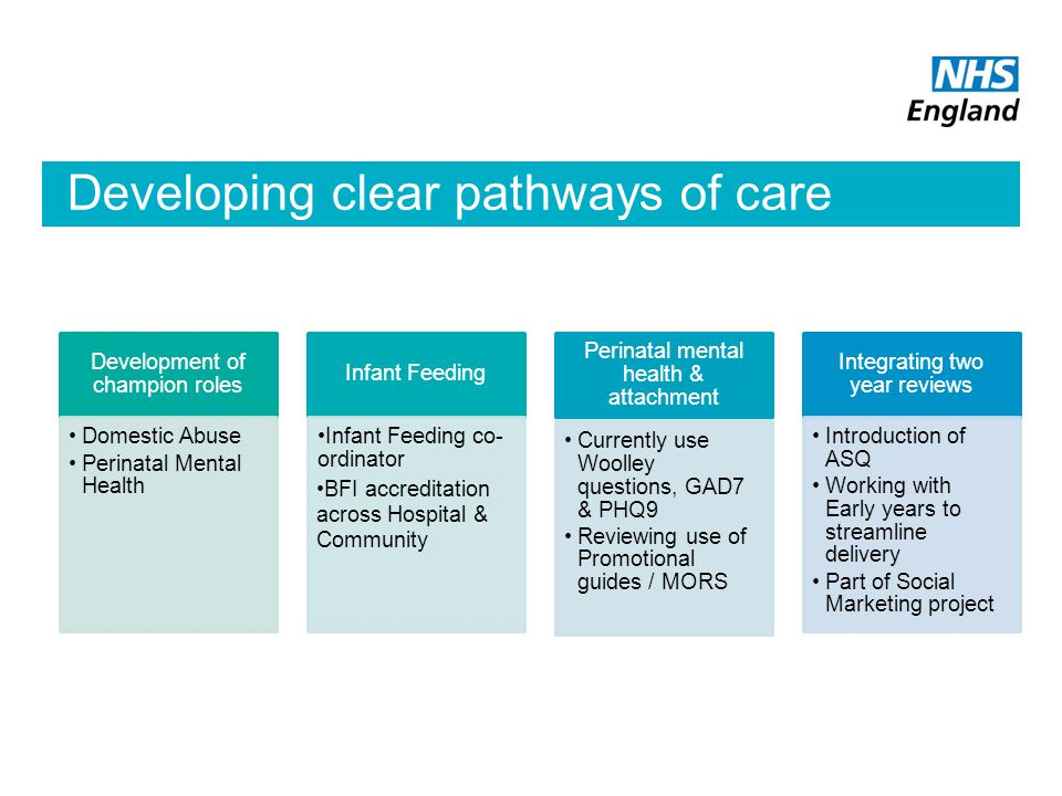 Developing clear pathways of care Development of champion roles Domestic Abuse Perinatal Mental Health Infant Feeding Infant Feeding co- ordinator BFI