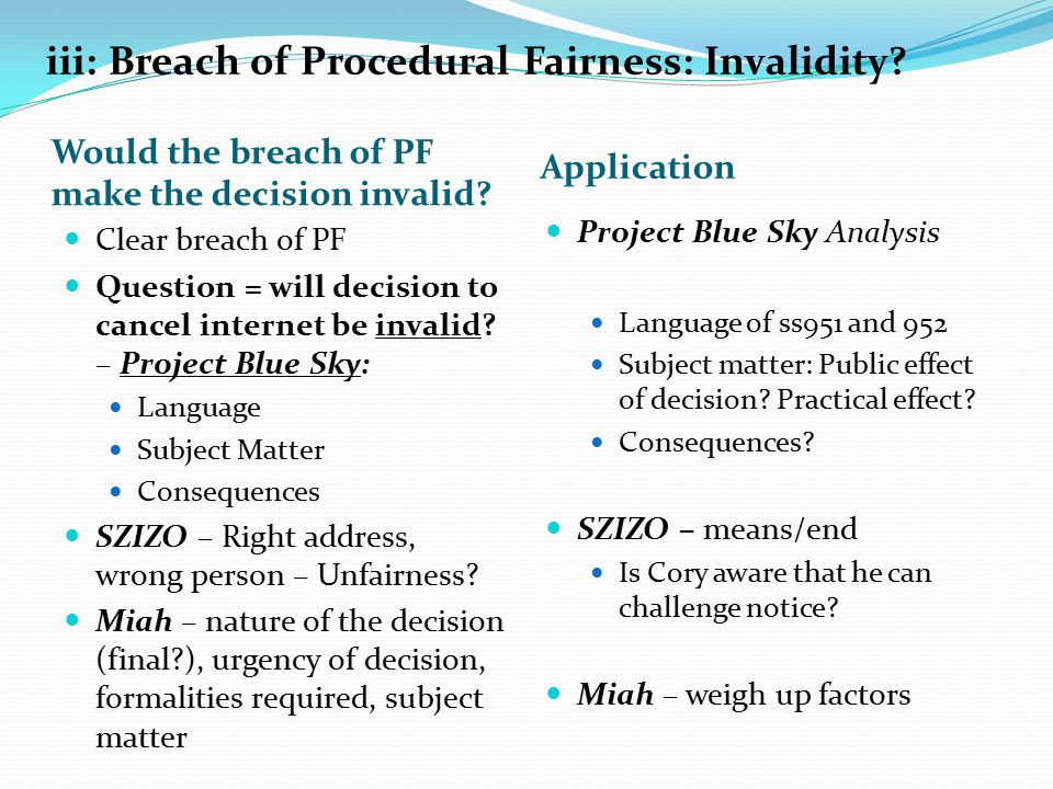 iii: Breach of Procedural Fairness: Invalidity. Would the breach of PF make the decision invalid.