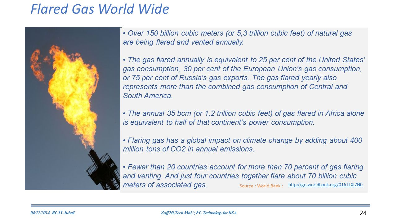Flared Gas World Wide Over 150 billion cubic meters (or 5,3 trillion cubic feet) of natural gas are being flared and vented annually.