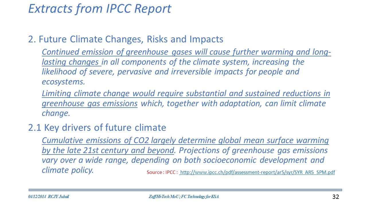 Extracts from IPCC Report 2.
