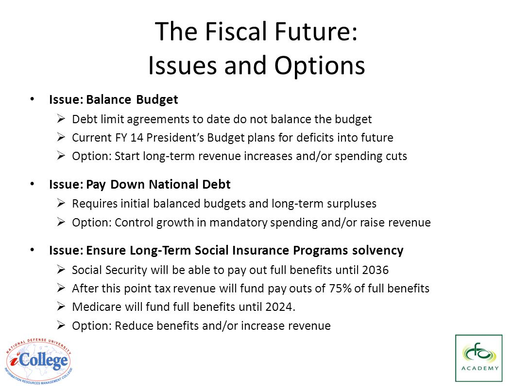 The Fiscal Future: Issues and Options Issue: Balance Budget  Debt limit agreements to date do not balance the budget  Current FY 14 President's Budget plans for deficits into future  Option: Start long-term revenue increases and/or spending cuts Issue: Pay Down National Debt  Requires initial balanced budgets and long-term surpluses  Option: Control growth in mandatory spending and/or raise revenue Issue: Ensure Long-Term Social Insurance Programs solvency  Social Security will be able to pay out full benefits until 2036  After this point tax revenue will fund pay outs of 75% of full benefits  Medicare will fund full benefits until 2024.