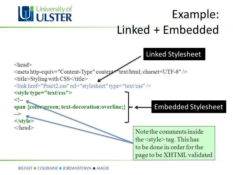 Example: Linked + Embedded Styling with CSS <!-- span {color:green; text-decoration:overline;} --> Linked Stylesheet Embedded Stylesheet Note the comments inside the tag.