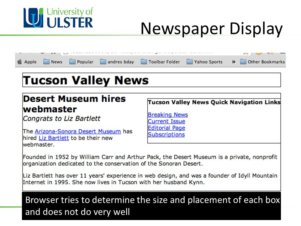 Newspaper Display Browser tries to determine the size and placement of each box and does not do very well