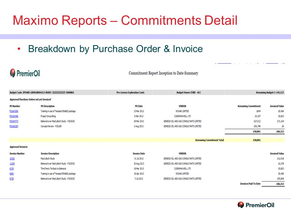 Maximo Reports – Commitments Detail Breakdown by Purchase Order & Invoice