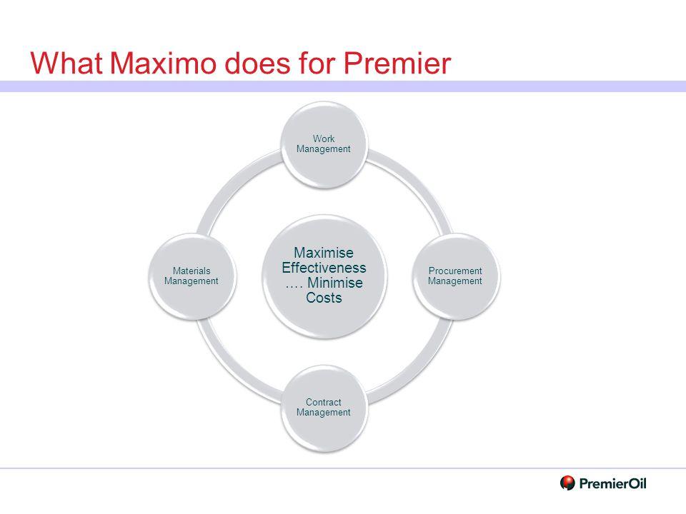 What Maximo does for Premier Maximise Effectiveness …. Minimise Costs Work Management Procurement Management Contract Management Materials Management