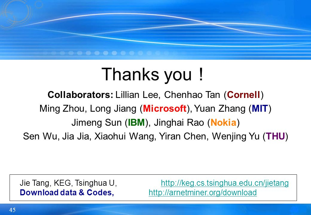 45 Thanks you ! Collaborators: Lillian Lee, Chenhao Tan (Cornell) Ming Zhou, Long Jiang (Microsoft), Yuan Zhang (MIT) Jimeng Sun (IBM), Jinghai Rao (Nokia) Sen Wu, Jia Jia, Xiaohui Wang, Yiran Chen, Wenjing Yu (THU) Jie Tang, KEG, Tsinghua U, http://keg.cs.tsinghua.edu.cn/jietanghttp://keg.cs.tsinghua.edu.cn/jietang Download data & Codes, http://arnetminer.org/downloadhttp://arnetminer.org/download