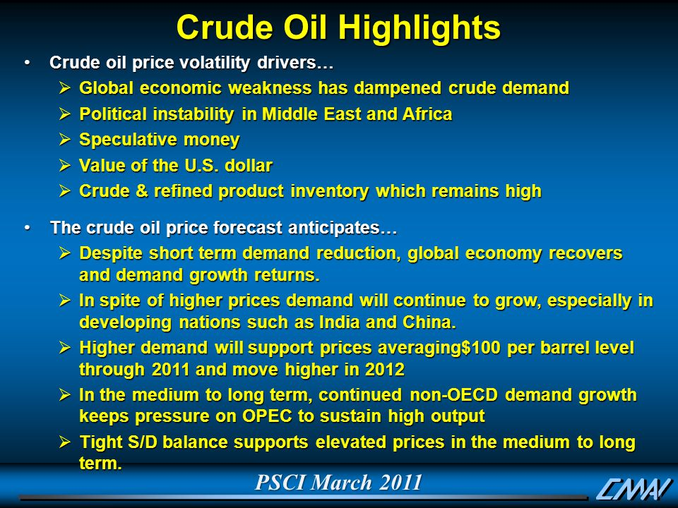 PSCI March 2011 Crude Oil Highlights Crude oil price volatility drivers…Crude oil price volatility drivers…  Global economic weakness has dampened crude demand  Political instability in Middle East and Africa  Speculative money  Value of the U.S.