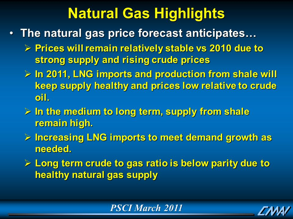PSCI March 2011 Natural Gas Highlights The natural gas price forecast anticipates…The natural gas price forecast anticipates…  Prices will remain relatively stable vs 2010 due to strong supply and rising crude prices  In 2011, LNG imports and production from shale will keep supply healthy and prices low relative to crude oil.