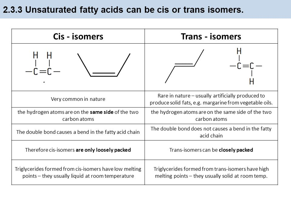 2.3.2 Fatty acids can be saturated, monounsaturated or polyunsaturated.