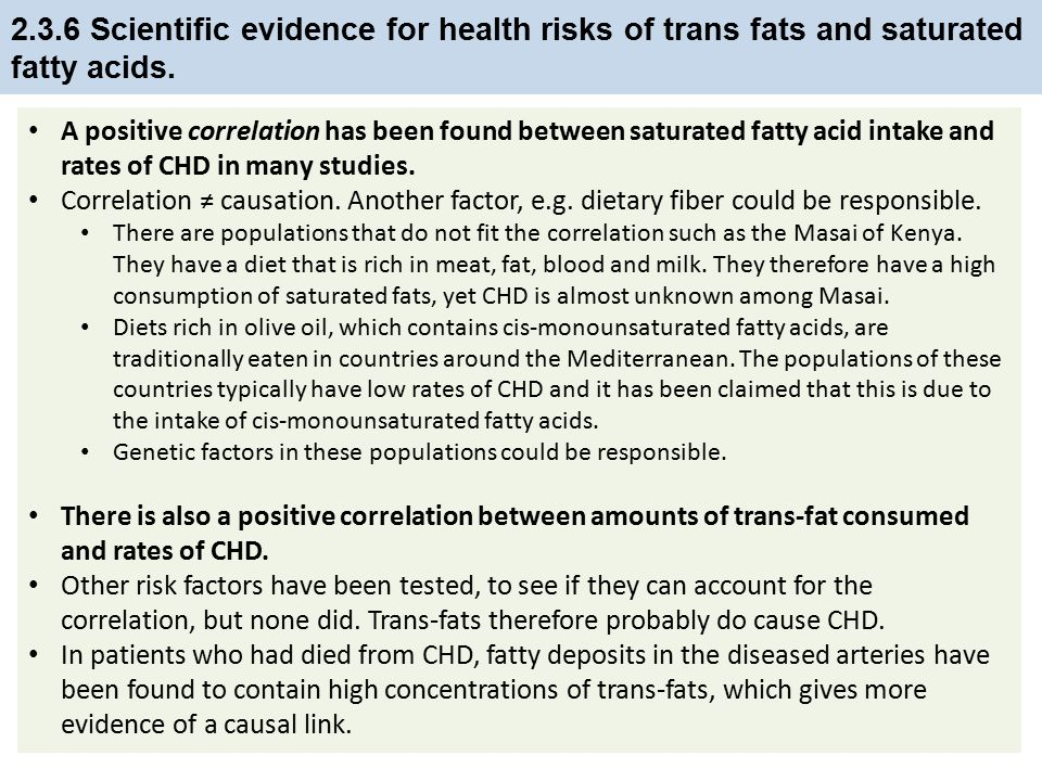 2.3.6 Scientific evidence for health risks of trans fats and saturated fatty acids.