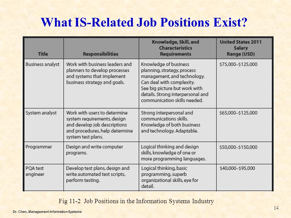Dr. Chen, Management Information Systems What IS-Related Job Positions Exist? 14 Fig 11-2 Job Positions in the Information Systems Industry