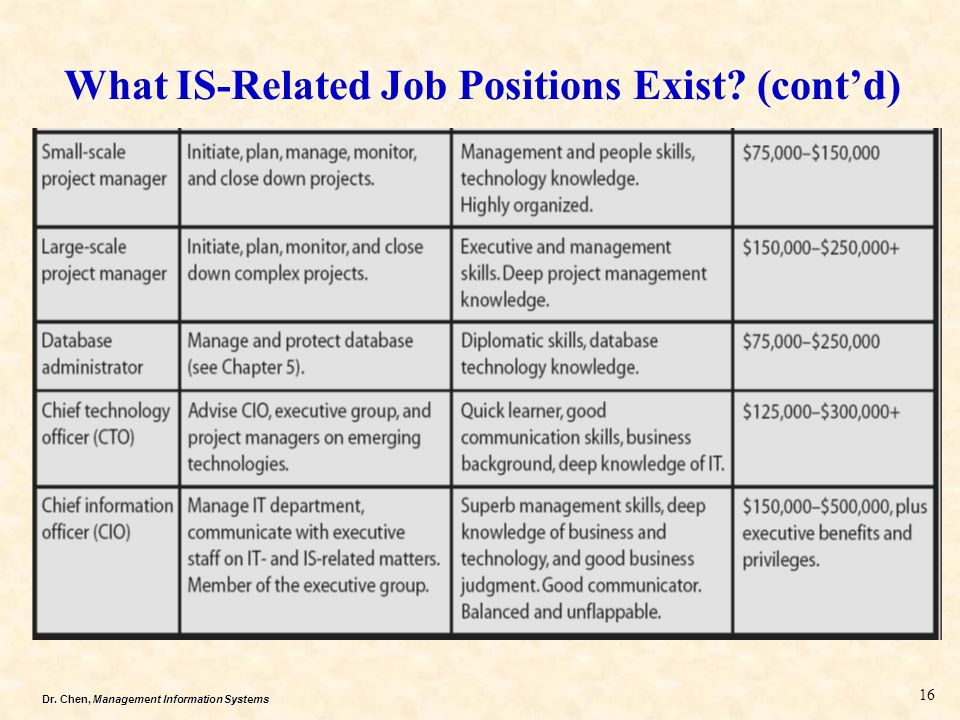 Dr. Chen, Management Information Systems What IS-Related Job Positions Exist? (cont'd) 16
