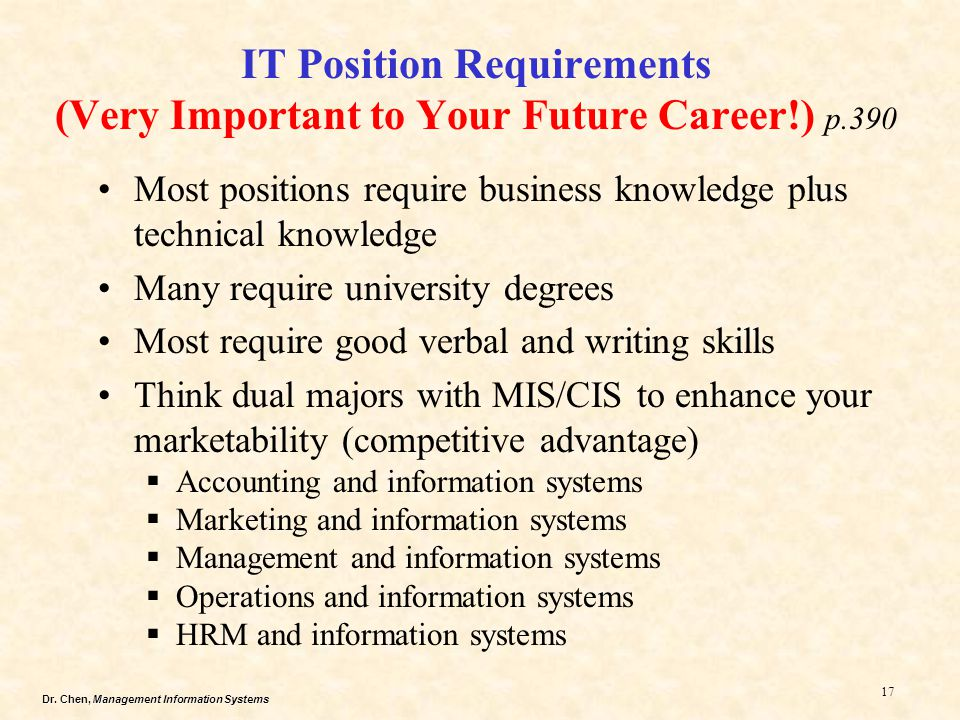 Dr. Chen, Management Information Systems 17 IT Position Requirements (Very Important to Your Future Career!) p.390 Most positions require business kno