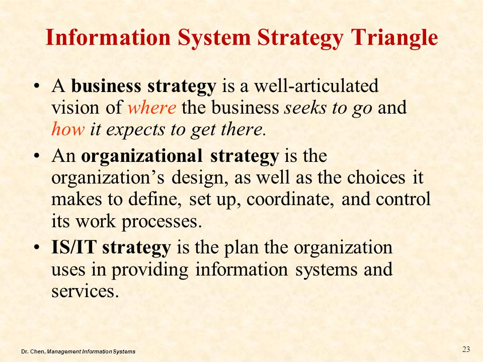 Dr. Chen, Management Information Systems Information System Strategy Triangle A business strategy is a well-articulated vision of where the business s