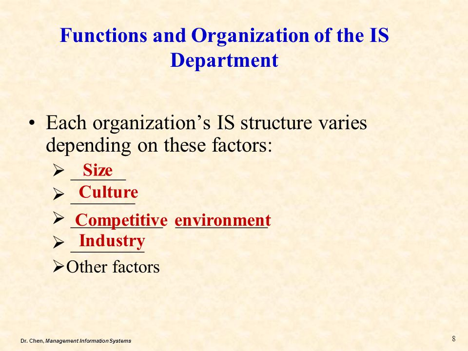 Dr. Chen, Management Information Systems Functions and Organization of the IS Department Each organization's IS structure varies depending on these fa