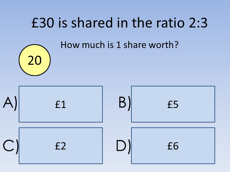 £6 £1£5 £2 A)B) C)D) £30 is shared in the ratio 2:3 How much is 1 share worth? End1234567891011121314151617181920