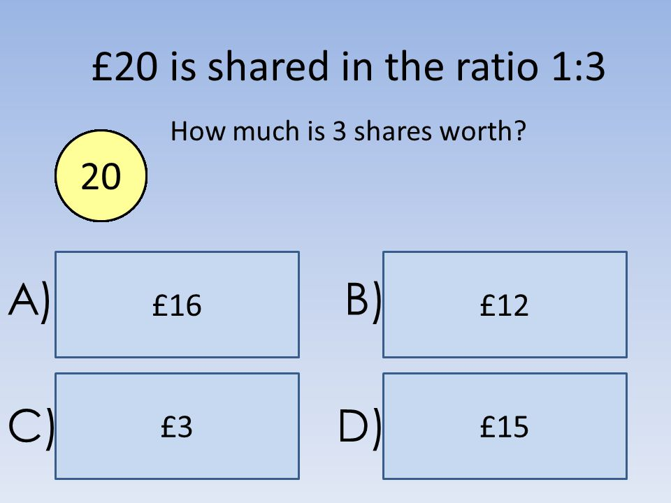 £15 £16£12 £3 A)B) C)D) £20 is shared in the ratio 1:3 How much is 3 shares worth? End1234567891011121314151617181920