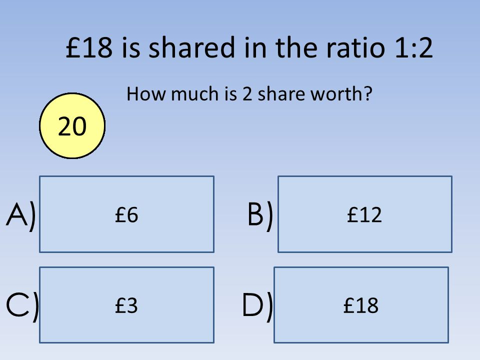 £12£6 £18£3 A)B) C)D) £18 is shared in the ratio 1:2 How much is 2 share worth? End1234567891011121314151617181920