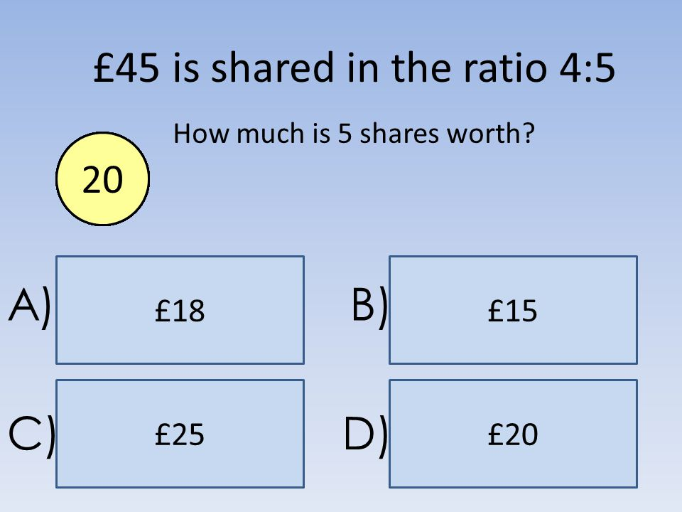 £25 £18 £20 £15 A)B) C)D) £45 is shared in the ratio 4:5 How much is 5 shares worth? End1234567891011121314151617181920