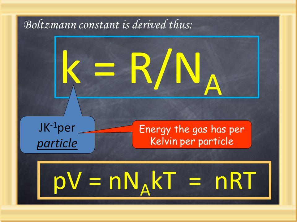 k = R/N A Boltzmann constant is derived thus: pV = nN A kT = nRT JK -1 per particle Energy the gas has per Kelvin per particle