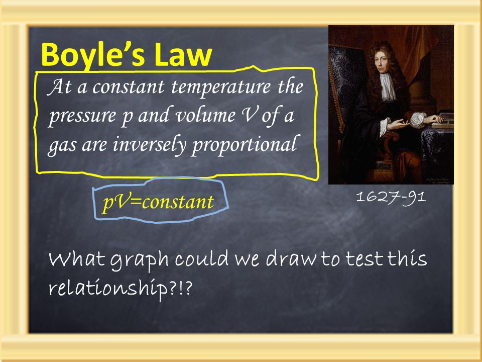 Boyle's Law 1627-91 pV=constant At a constant temperature the pressure p and volume V of a gas are inversely proportional What graph could we draw to test this relationship?!?