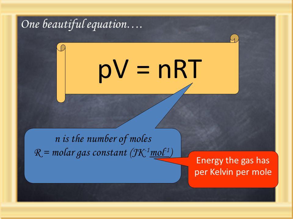 pV = nRT n is the number of moles R = molar gas constant (JK -1 mol -1 ) One beautiful equation…. Energy the gas has per Kelvin per mole