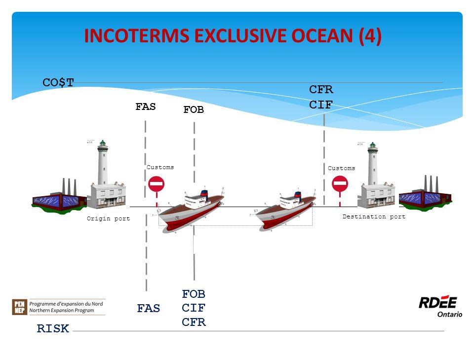 FOB CIF CFR FAS CFR CIF CO$T Customs INCOTERMS EXCLUSIVE OCEAN (4) RISK Customs FAS FOB Origin port Destination port