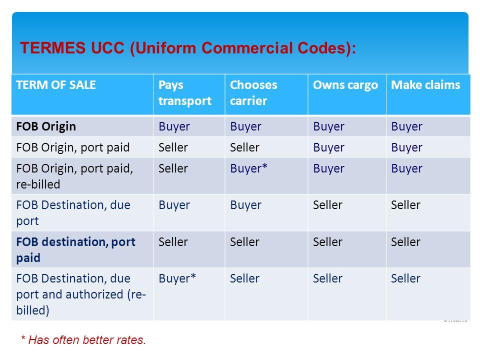 TERMES UCC (Uniform Commercial Codes): * Has often better rates.