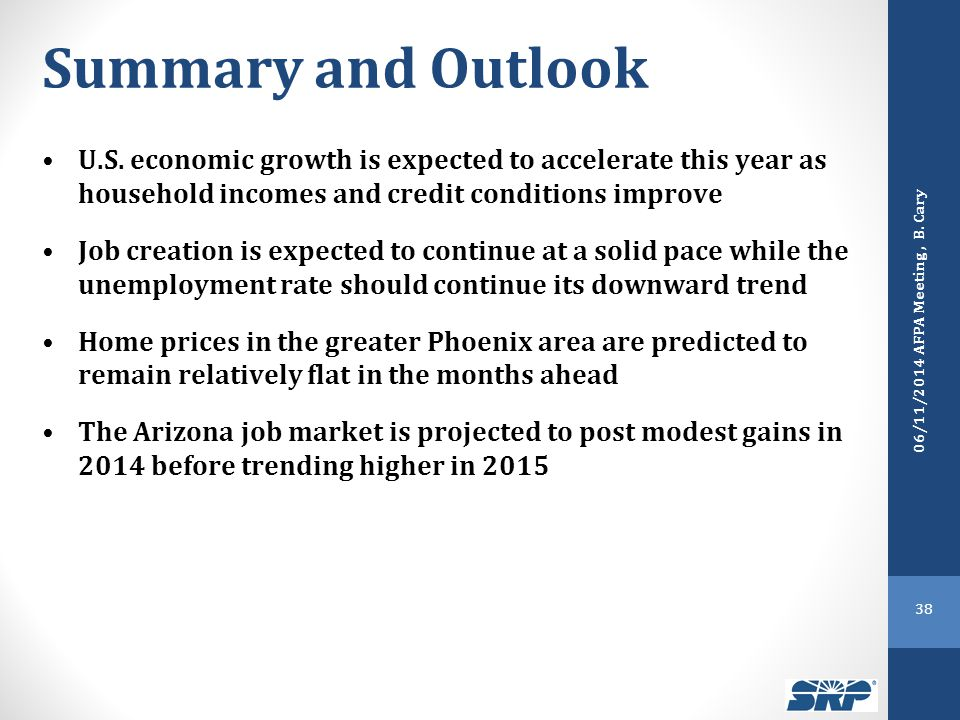 Summary and Outlook U.S. economic growth is expected to accelerate this year as household incomes and credit conditions improve Job creation is expect