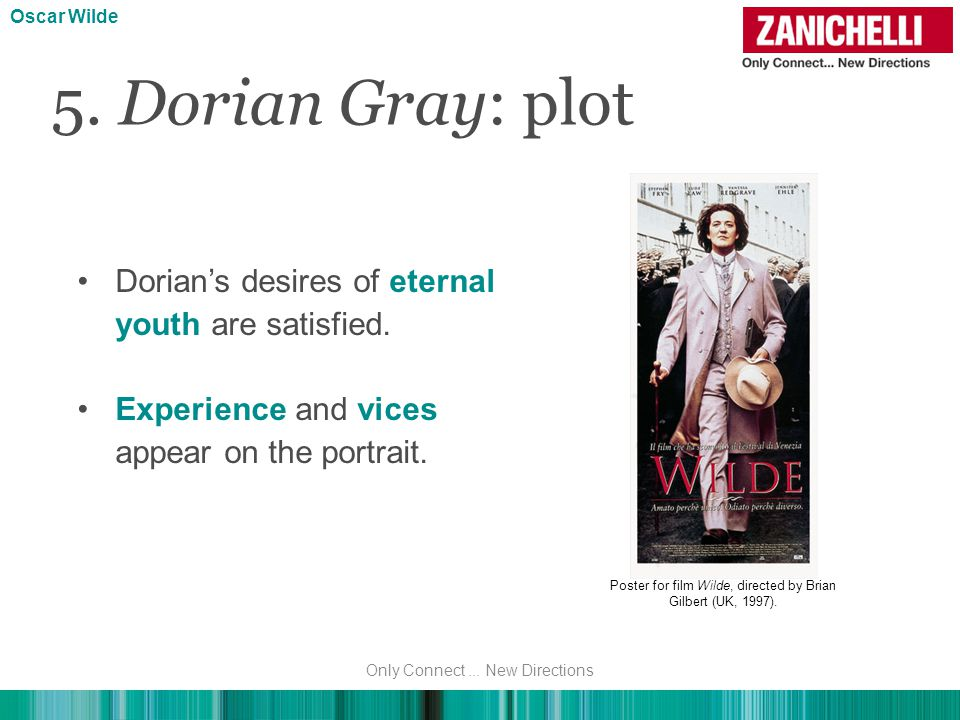 Dorian's desires of eternal youth are satisfied. Experience and vices appear on the portrait.