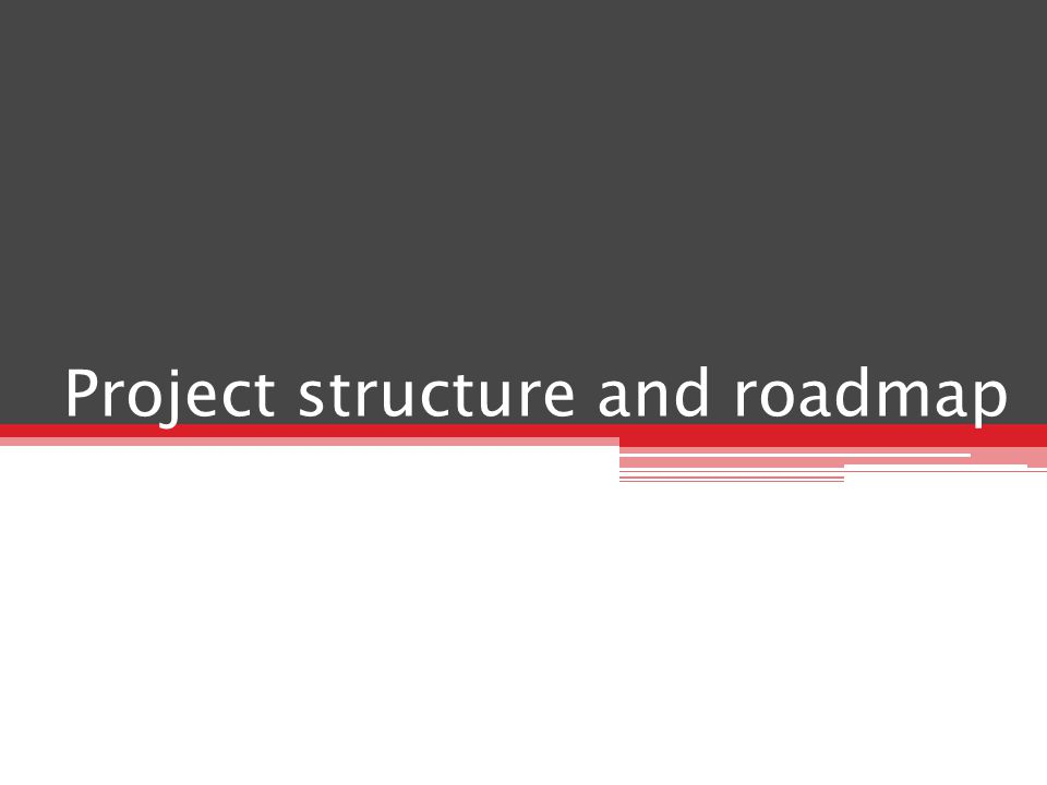 Project structure and roadmap