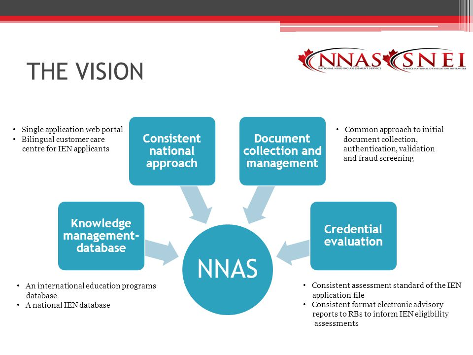 THE VISION Single application web portal Bilingual customer care centre for IEN applicants Common approach to initial document collection, authentication, validation and fraud screening Consistent assessment standard of the IEN application file Consistent format electronic advisory reports to RBs to inform IEN eligibility assessments An international education programs database A national IEN database