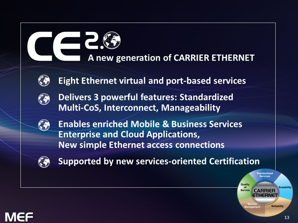 13 Eight Ethernet virtual and port-based services Delivers 3 powerful features: Standardized Multi-CoS, Interconnect, Manageability Enables enriched Mobile & Business Services Enterprise and Cloud Applications, New simple Ethernet access connections Supported by new services-oriented Certification A new generation of CARRIER ETHERNET
