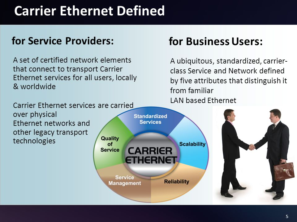 5 A ubiquitous, standardized, carrier- class Service and Network defined by five attributes that distinguish it from familiar LAN based Ethernet Carrier Ethernet Defined for Business Users: A set of certified network elements that connect to transport Carrier Ethernet services for all users, locally & worldwide Carrier Ethernet services are carried over physical Ethernet networks and other legacy transport technologies for Service Providers: