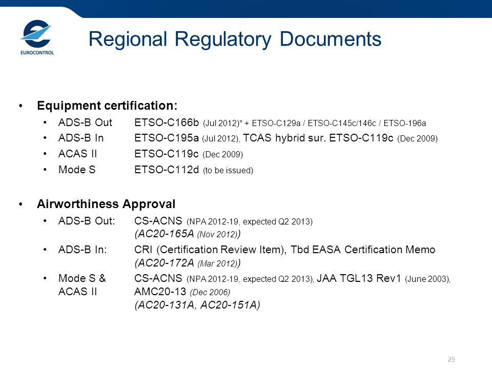Equipment certification: ADS-B OutETSO-C166b (Jul 2012)* + ETSO-C129a / ETSO-C145c/146c / ETSO-196a ADS-B In ETSO-C195a (Jul 2012), TCAS hybrid sur. E