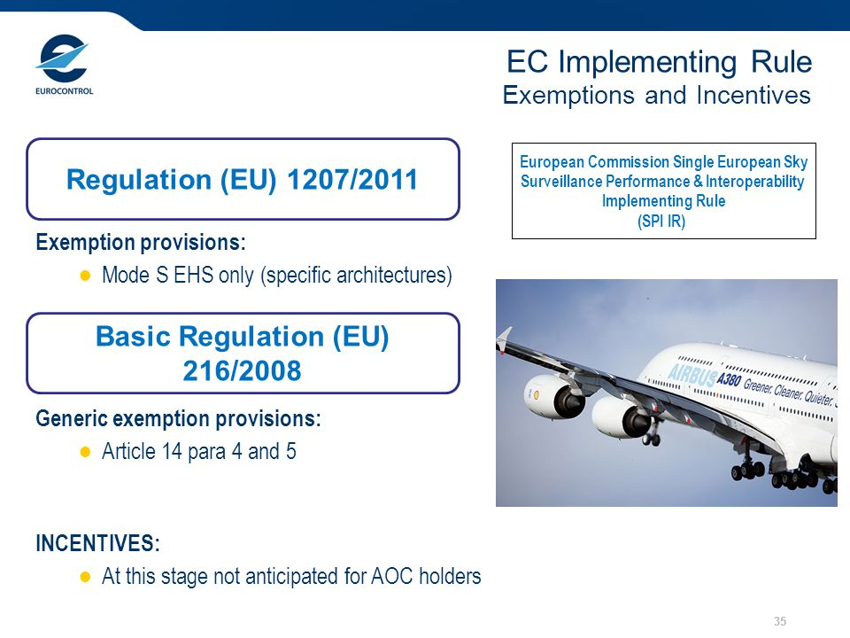 35 EC Implementing Rule Exemptions and Incentives European Commission Single European Sky Surveillance Performance & Interoperability Implementing Rul