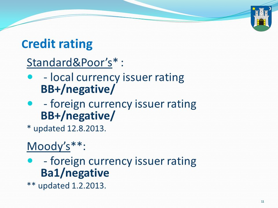 11 C redit rating Standard&Poor's* : - local currency issuer rating BB+/negative/ - foreign currency issuer rating BB+/negative/ * updated 12.8.2013.