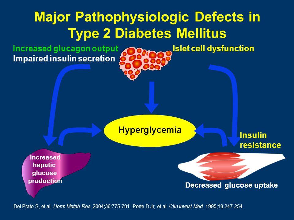 Increased glucagon output Hyperglycemia Decreased glucose uptake Increased hepatic glucose production Del Prato S, et al.