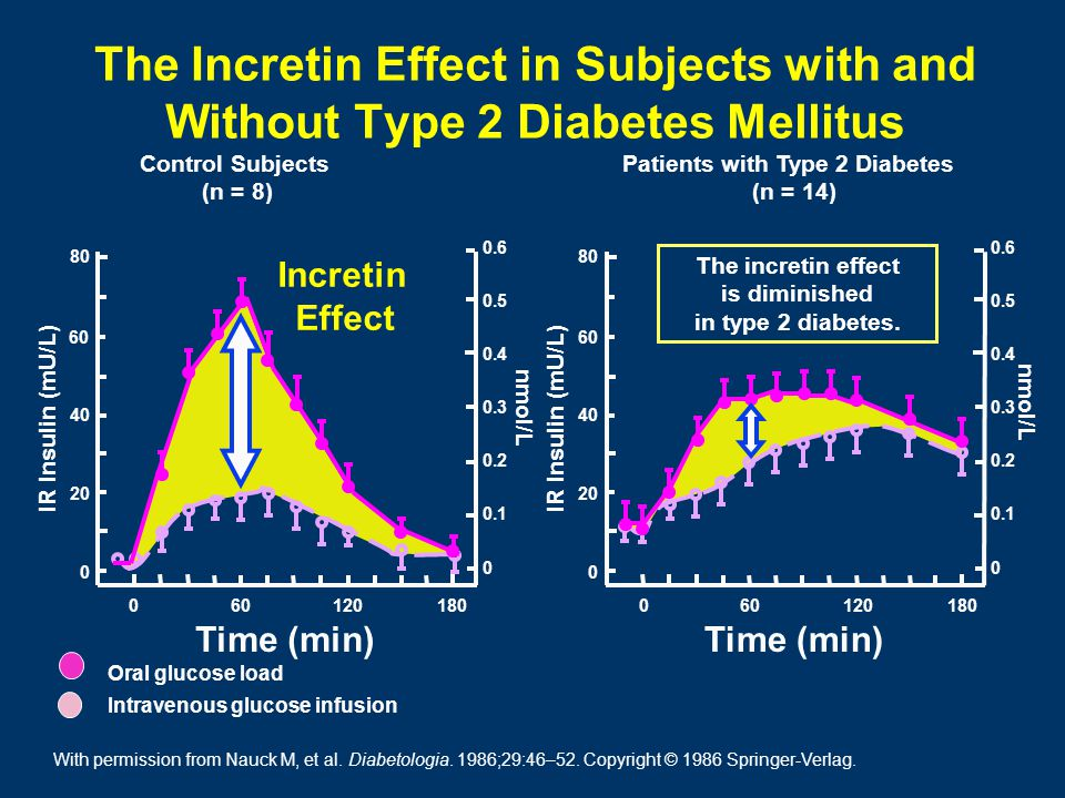 Time (min) IR Insulin (mU/L) nmol/L 0.6 0.5 0.4 0.3 0.2 0.1 0 80 60 40 20 0 180601200 The Incretin Effect in Subjects with and Without Type 2 Diabetes Mellitus Control Subjects (n = 8) Patients with Type 2 Diabetes (n = 14) Time (min) IR Insulin (mU/L) nmol/L 0.6 0.5 0.4 0.3 0.2 0.1 0 80 60 40 20 0 18060120 0 Oral glucose load Intravenous glucose infusion Incretin Effect The incretin effect is diminished in type 2 diabetes.