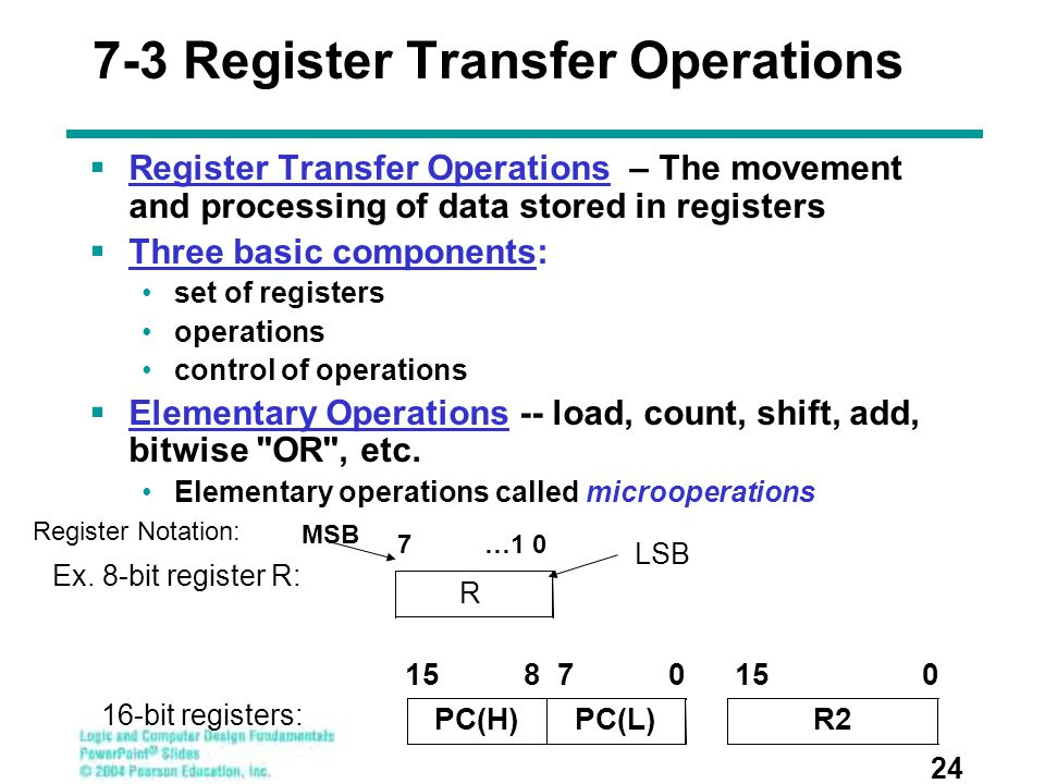 7-3 Register Transfer Operations  Register Transfer Operations – The movement and processing of data stored in registers  Three basic components: se