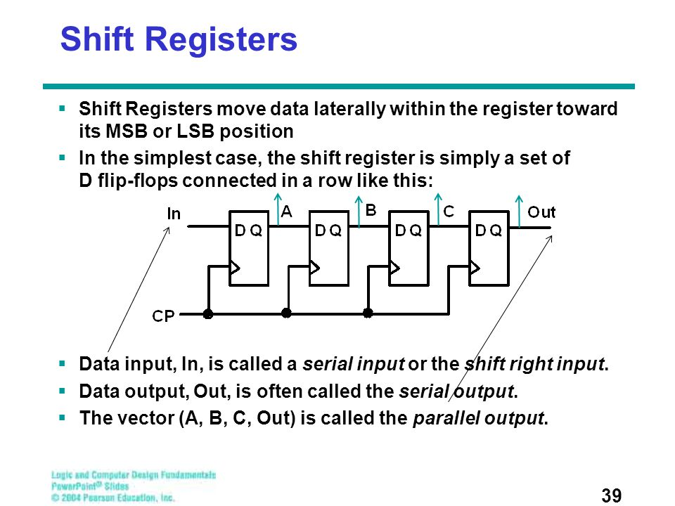 Shift Registers  Shift Registers move data laterally within the register toward its MSB or LSB position  In the simplest case, the shift register is