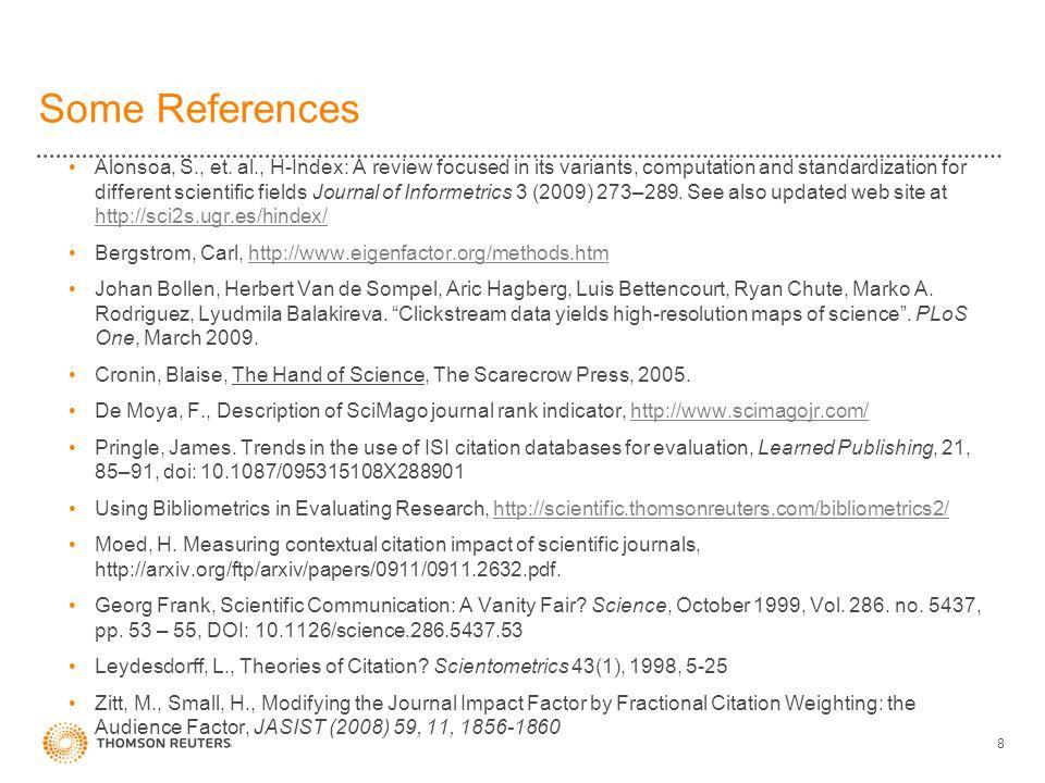 Some References Alonsoa, S., et.