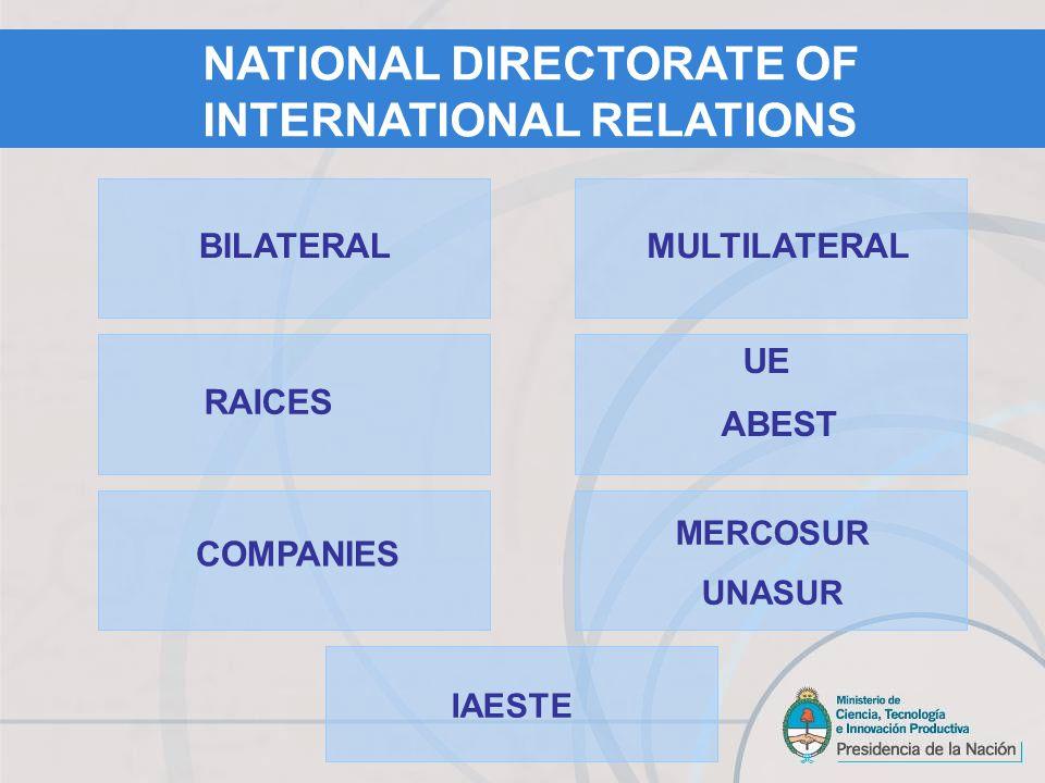 BILATERAL COMPANIES UE ABEST RAICES MULTILATERAL MERCOSUR UNASUR IAESTE NATIONAL DIRECTORATE OF INTERNATIONAL RELATIONS
