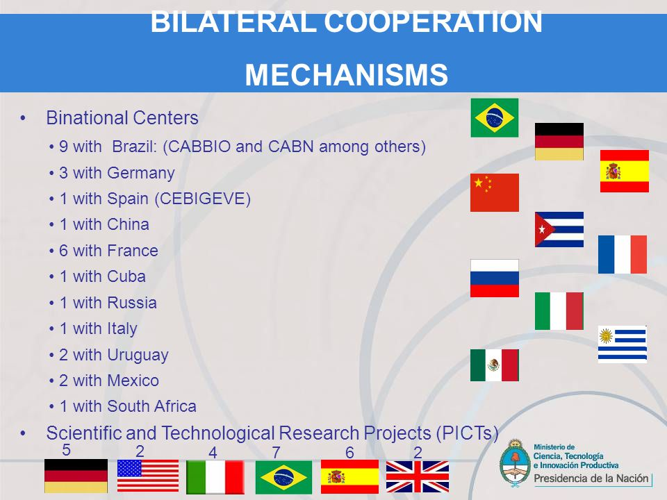 Binational Centers 9 with Brazil: (CABBIO and CABN among others) 3 with Germany 1 with Spain (CEBIGEVE) 1 with China 6 with France 1 with Cuba 1 with Russia 1 with Italy 2 with Uruguay 2 with Mexico 1 with South Africa Scientific and Technological Research Projects (PICTs) 5 2 47 BILATERAL COOPERATION MECHANISMS 62
